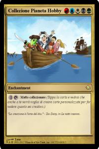 carta che mostra il logo di pianeta hobby che va in barca
