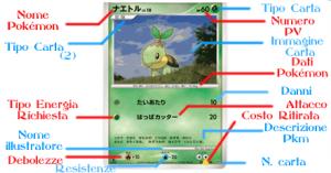 una carta pokemon con spiegazione