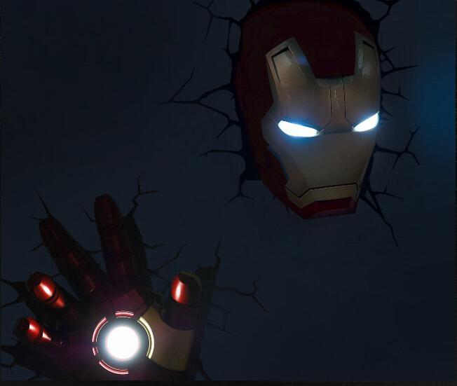 lampada decorativa a parete marvel - iron man competo