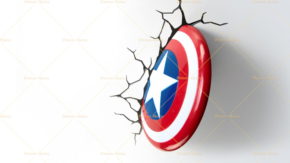 Lampada LED da muro in 3D dei Marvel - Scudo Capitan America